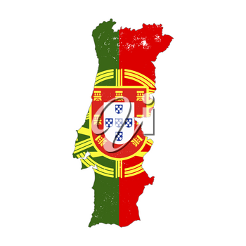 Portugal country silhouette with flag on background on white