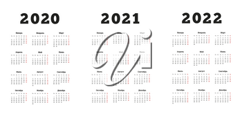 Set of A4 size vertical simple calendars in russian at 2020, 2021, 2022 years on white