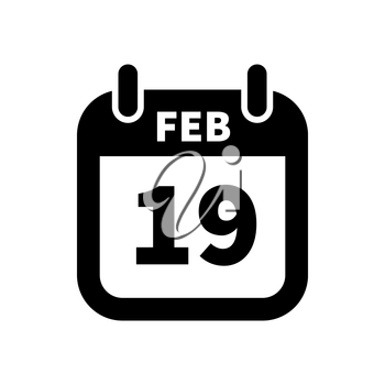 Simple black calendar icon with 19 february date on white