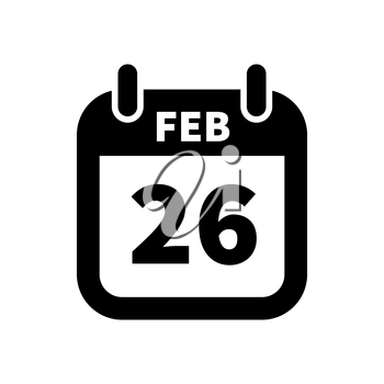 Simple black calendar icon with 26 february date on white