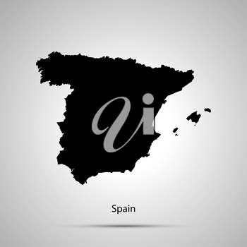 Spain country map, simple black silhouette