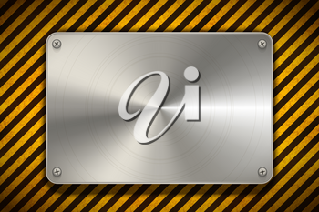 Warning sign yellow and black stripes with polished metal blank plate, industrial background