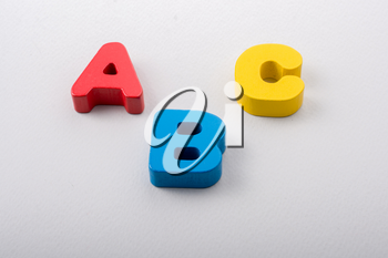 Letters of abc of alphabet on white color background