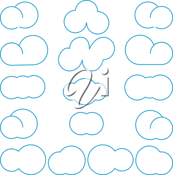 Clouds differeny shapes simple style Blue color