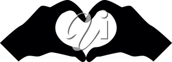 Two hands have shape heart Hands making heart symbol silhouette icon black color vector illustration flat style simple image