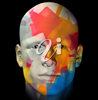 Male portrait and colorful geometric pattern. 3d computer generated illustration.