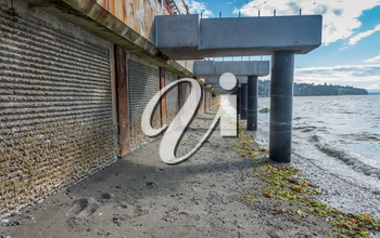 A view of a walkway that is under constrtuction at Redondo Beach, Washington.