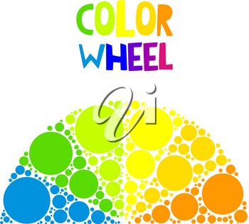 Color wheel palett or color circle on background. The physical representation of color transitions and HSB.