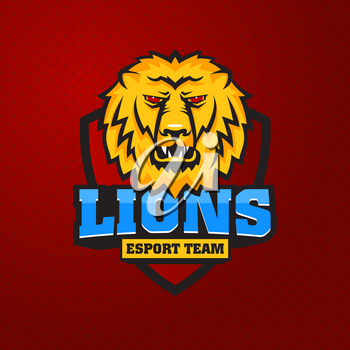 Mascot the muzzle of a lion on board. Leo talisman college sports teams, e-sport, school logo, tattoo, avatar, print t-shirt. The design of the character of a wild African cat. Vector illustration.