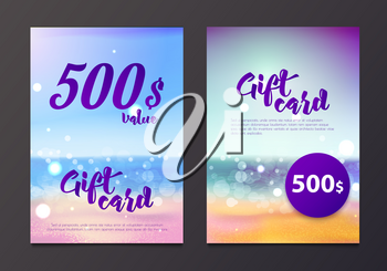 A gift certificate to the sea and the beach is out of focus. Card with blurred background and bokeh. Save 500 on a trip to the tropics, beach holiday. Gift voucher for the resort.