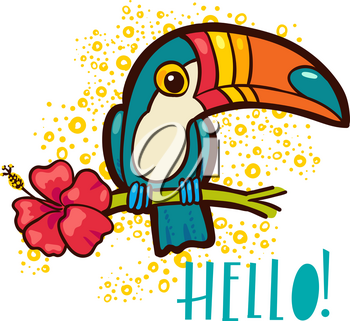 Bird Toucan Ramphastida , tropical hibiscus flower in cartoon style. The phrase Hello. Suitable for print on t-shirt, poster jungle postcard for children