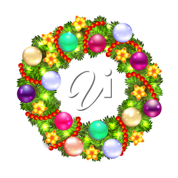 Christmas wreath with baubles and christmas tree, lights and stars on a white background. Vector illustration.