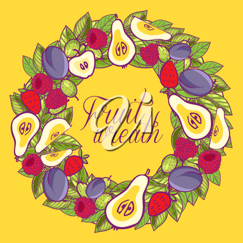 Vintage wreath with berries, apples, pears, plums leaves. Symbol of harvest. Hand-painted vector illustration isolated. For your invitations, postcards, flyers, and other design