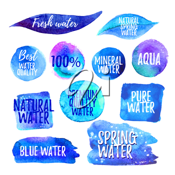 Set of water labels. Smears of blue watercolor paint. Isolated vector illustration.