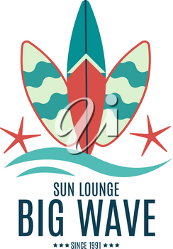 Vector Retro Style Surfing Labels, Logos or T-shirt Graphic Design Featuring Surfboards, for presentation, infographics, flyer, printing  etc. Good for Posters etc.