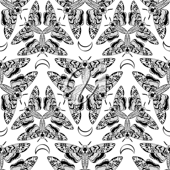 Butterfly Deaths head hawk moth. The symbol of the triple goddess. Vintage seamless pattern. For prints, T-shirts, bags, cards, textile, fashion, scrapbook paper. Vector. Coloring for adults and kids