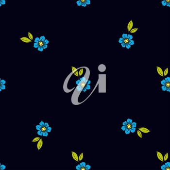 Blue flowers in the old style tattoo. Floral seamless pattern on a black background. Texture for vintage scrapbooking, wrapping paper, textiles, web page, textile wallpapers, surface design, fashion