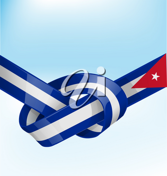 cuba ribbon flag on bue sky background