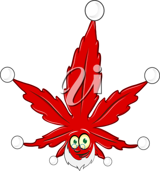 marijuana christmas mascot isolated on white background