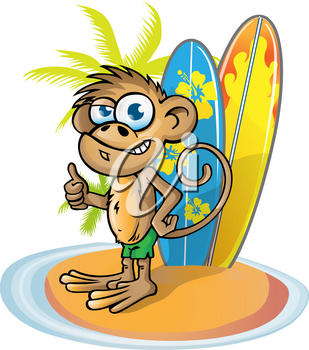 monkey  surfer  cartoon on island with surfboard