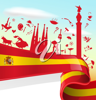 Spain Element on Flag with sky background