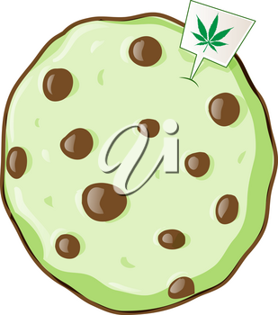 cookie with marijuana flavor. vetcor illustration