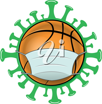 basketball illustration with mask over covid19 background