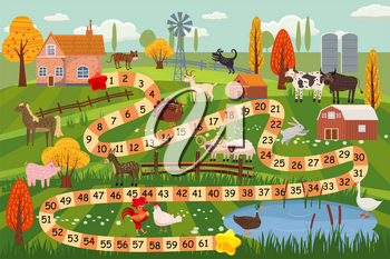 Illustration of a boardgame with farm scene
