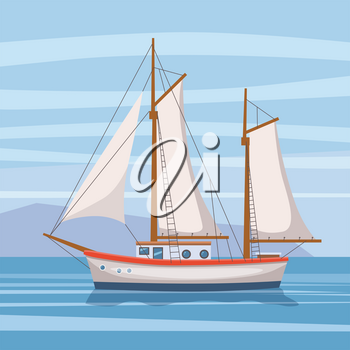 Sailing ship in the sea on seascape, vector illusration, isolated,