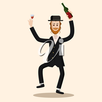 Funny cartoon Jewish man dancing with vine. Vector illustration isolated