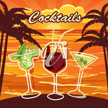 Set of ten beautiful illustration of some of the most famous Cocktails and Drink