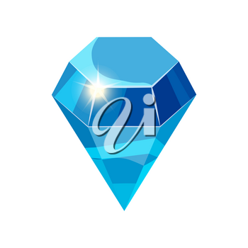 Diamond sparkling, shining blue color isolated