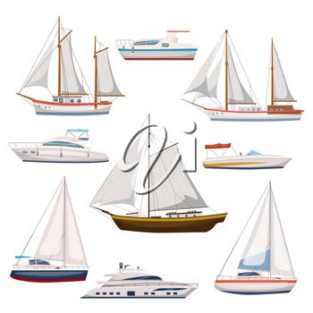 Super set of water carriage and maritime transport in modern flat design style. Ship, boat, vessel, warship, cargo ship, cruise ship, yacht, wherry, hovercraft.
