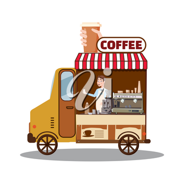 Street food truck, van. Fast food delivery. Coffee van, shop, barista Cartoon design