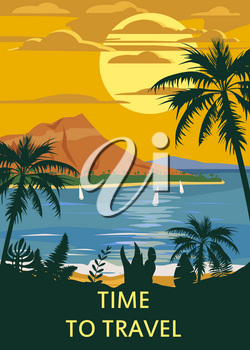 Retro Vintage Time to Trave style travel poster or sticker