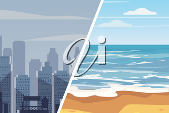 Template for advertising two landscapes to compare the quality of life