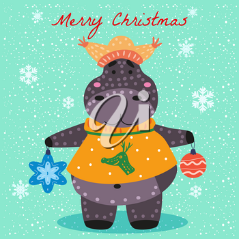 Merry Christmas Hyppo cute with hat, sweater and toys, card. Hand drawn character illustration vector isolated poster