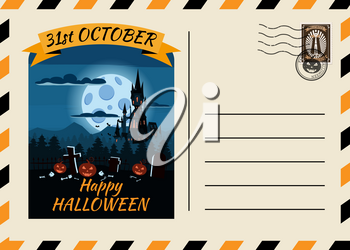 Happy Halloween Postcard invitation template with Postage Stamp background design