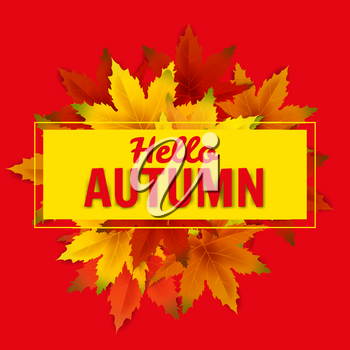 Hello Autumn Sale Background Template, with falling bunch of leaves