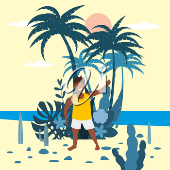 Boy kid in shorts and t-shirt on background of exotic plants of palm sea
