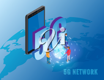 5G internet new mobile wireless technology wifi connection. Isometric smartphone with Earth planet