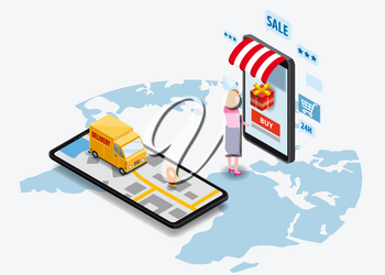 Shopping Online and Online Delivery Concept. Smartphone with online store, truck, buyer