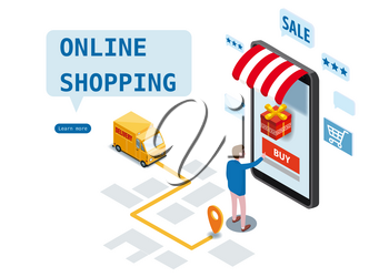 Sale, consumerism and people concept. Young man shop online using smartphone. Landing page template. 3d vector isometric illustration.