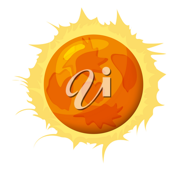 Fantastic sun planet, icon cartoon style, vector isolated for games