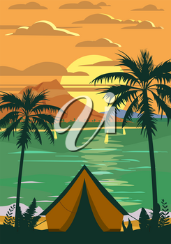 Tourist tent camping on the tropical beach, palms. Summer vacation coastline beach sea, ocean, sunset, travel. Vector poster banner, illustration, retro, vintage