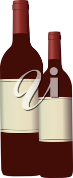 A set of two red wine bottles ready to serve vector color drawing or illustration
