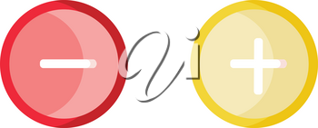 Red minus and yellow plus buttons vector illustration on white background.