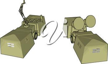 It is a type of military vehicle loaded radar which is used for different type of confidential work vector color drawing or illustration
