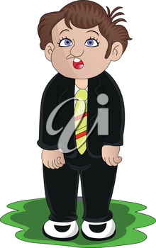 Vector illustration of worried businessman isolated on white background.