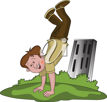 Vector illustration of happy boy in upside down position.